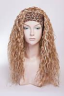 Искусственный парик на повязке №5,цвет мелирование пшеничный с белым
