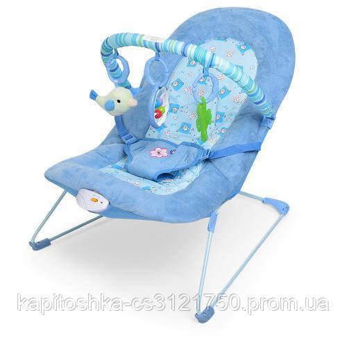 Детский шезлонг с музыкой и вибрацией. Размер 60х51х55 см. Для детей с рождения до 2 лет. Bambi 6408