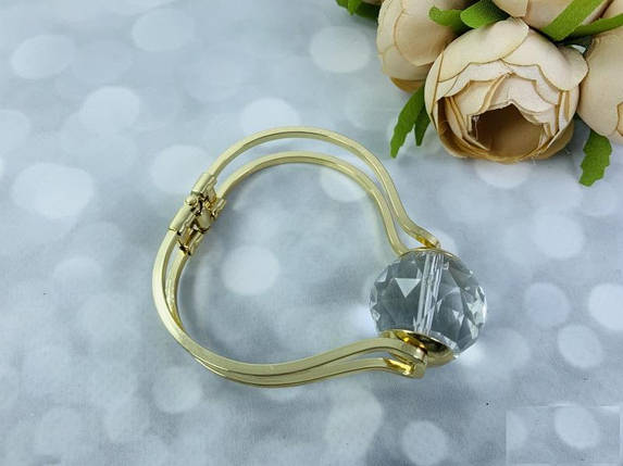 Браслет металл в золоте с большим алмазом, фото 2