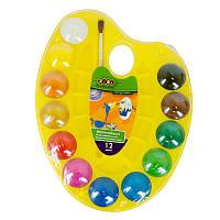 Акварельные краски на палитре, 12 цветов, натуральная кисточка, желтая, ZB.6558-08