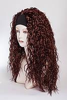 Искусственный парик на повязке №5,цвет каштан с яркой краснинкой