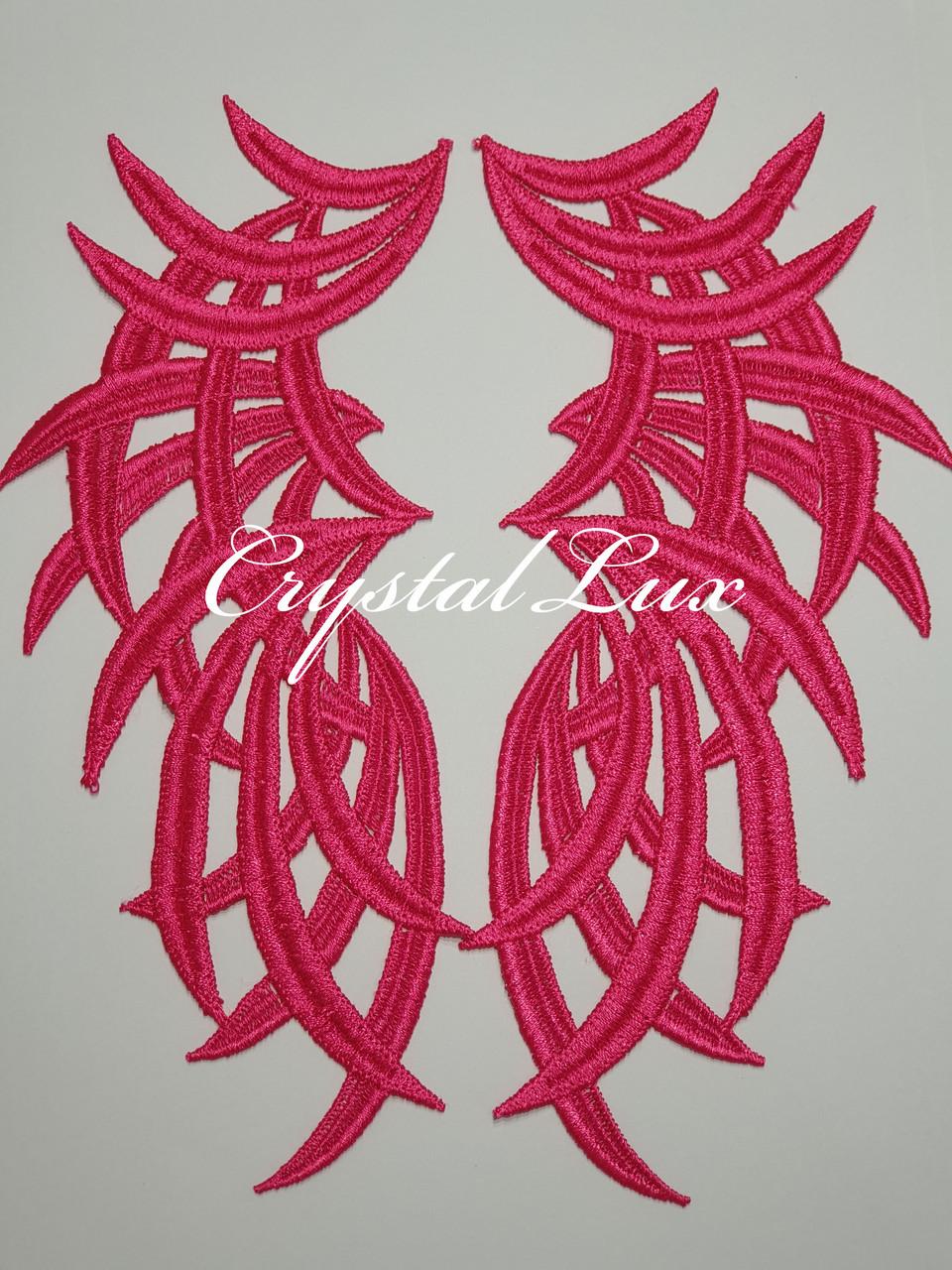 Лейсы нашивные 22*9см, Pink 1 пара