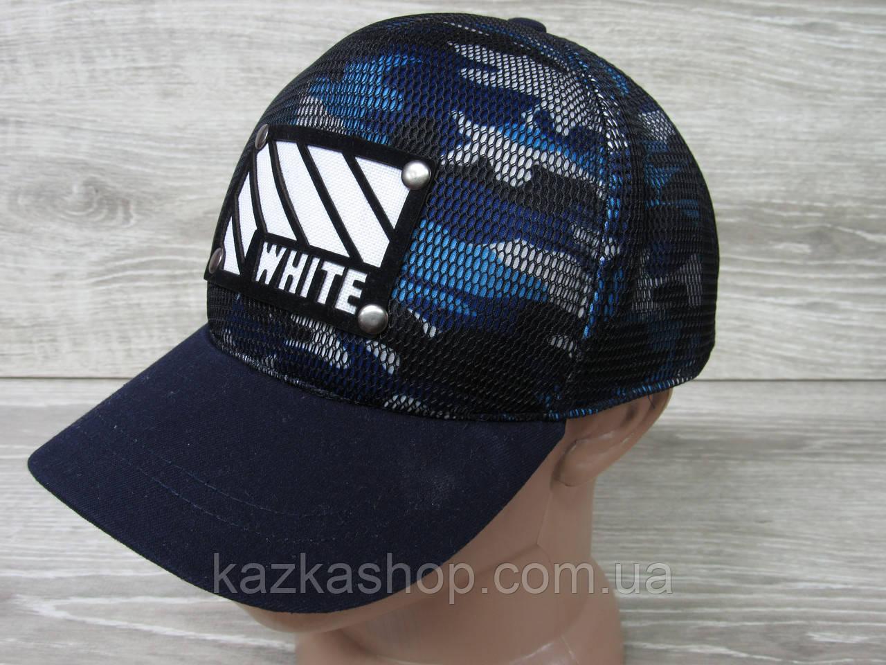 Мужская бейсболка, кепка, материал трикотаж, с декоративной вставкой WHITE, на регуляторе