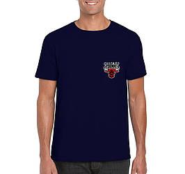 Мужская футболка Chicago Bulls, Чикаго Булз, синяя, спортивная, хлопковая (люкс копия)