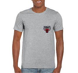 Мужская футболка Chicago Bulls, Чикаго Булз, серая, спортивная, хлопковая (люкс копия)