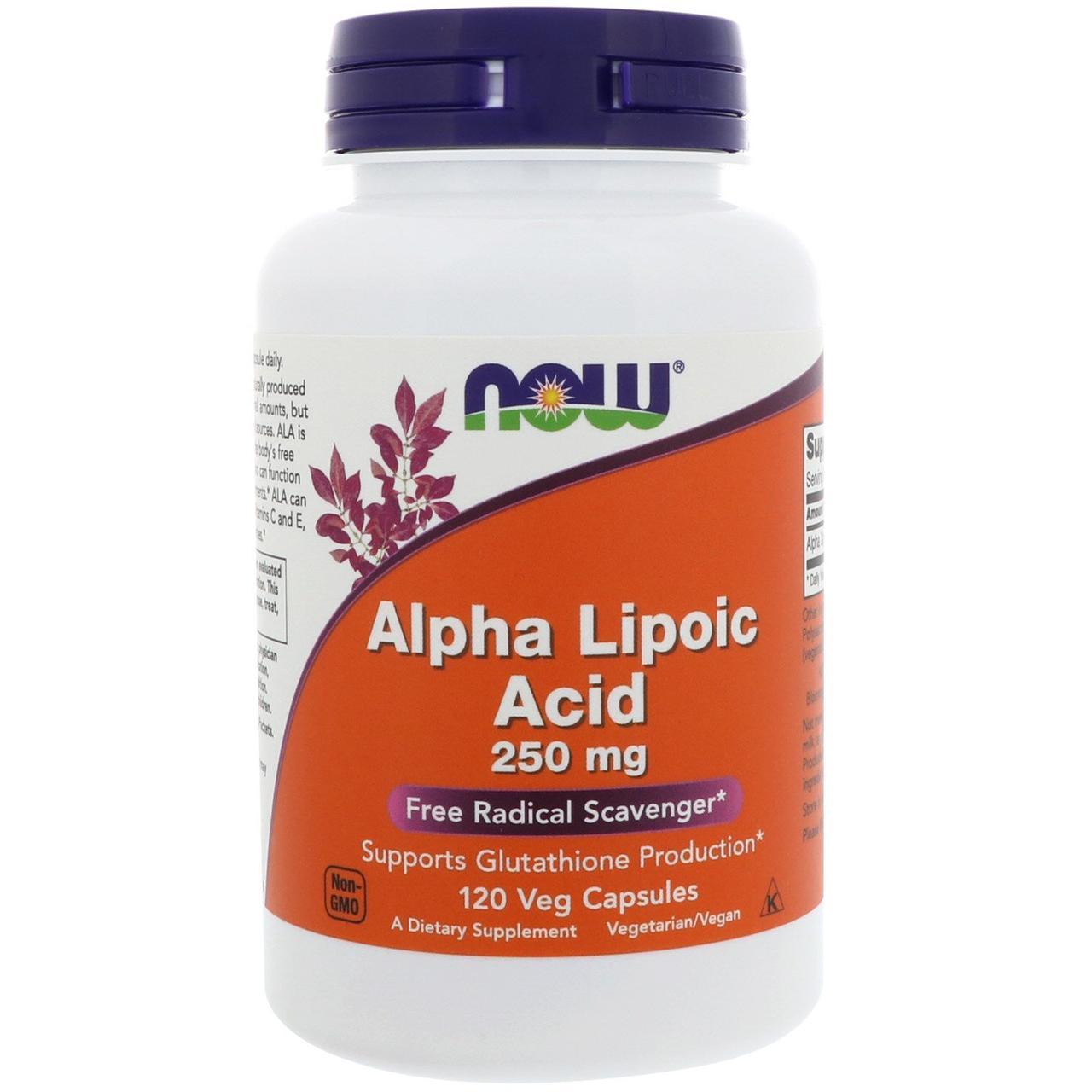 Альфа-липоевая кислота NOW Alpha Lipoic Acid 250 mg 120 veg caps
