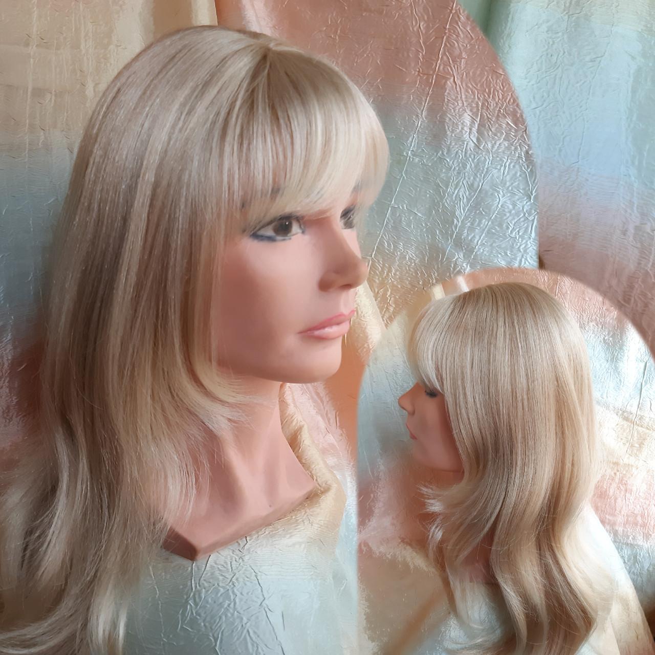Парик длинный прямой жемчужный блонд с пробором FANLAN-24BT613N