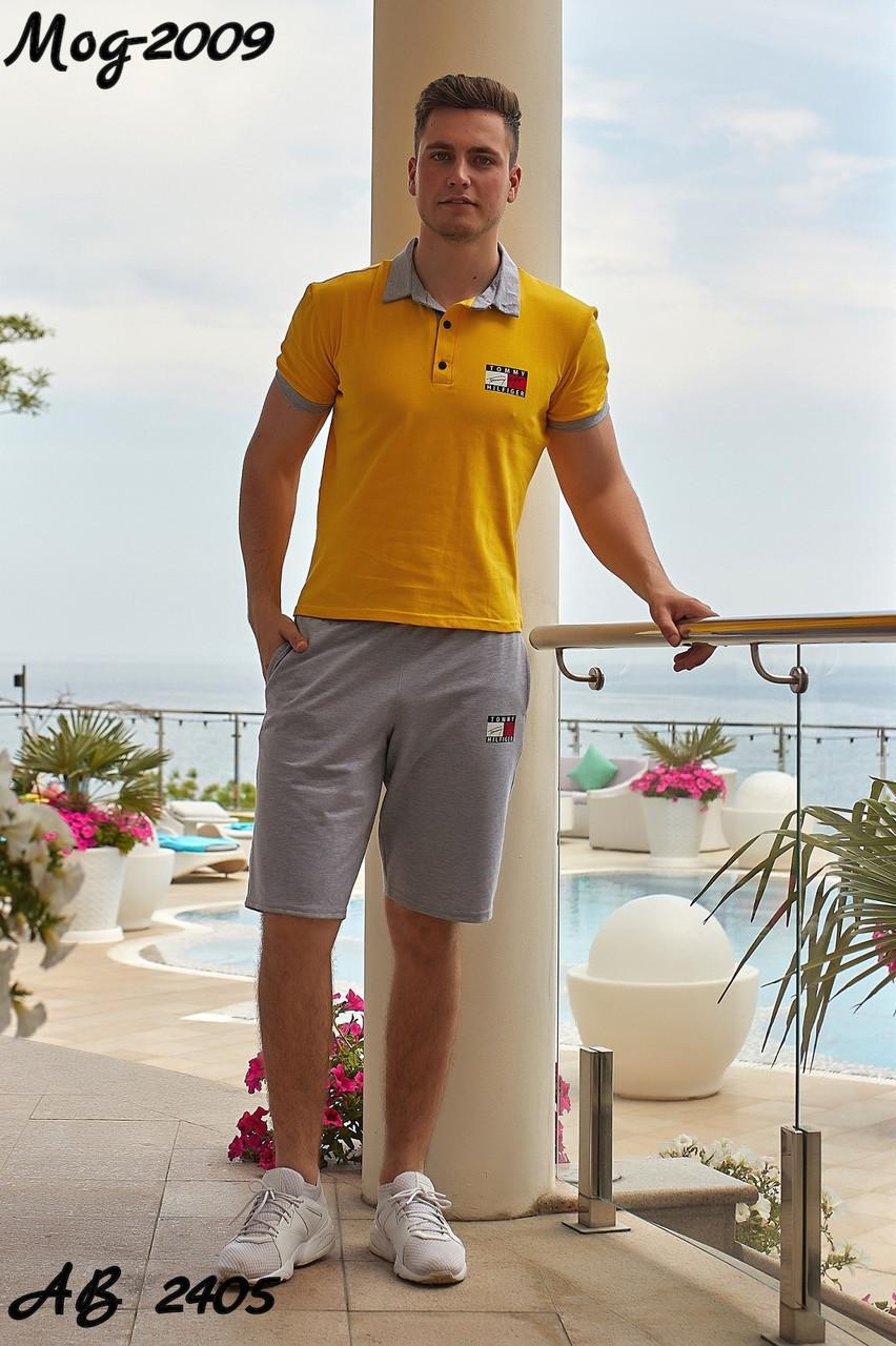 Мужской молодежный летний спортивный костюм: шорты и футболка поло, реплика Tommy Hilfiger