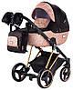 Дитяча коляска 2 в 1 Adamex MIMI Polar (Pink Gold) Y837 чорний (люрикс) - мідний (принт) шкіра
