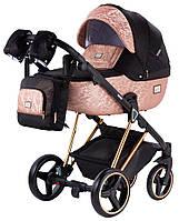 Дитяча коляска 2 в 1 Adamex MIMI Polar (Pink Gold) Y837 чорний (люрикс) - мідний (принт) шкіра, фото 1