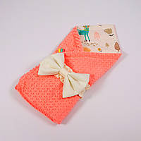 Летний конверт-плед на выписку с плюшем лососевого цвета BabySoon 78х85см Лесные истории, фото 1