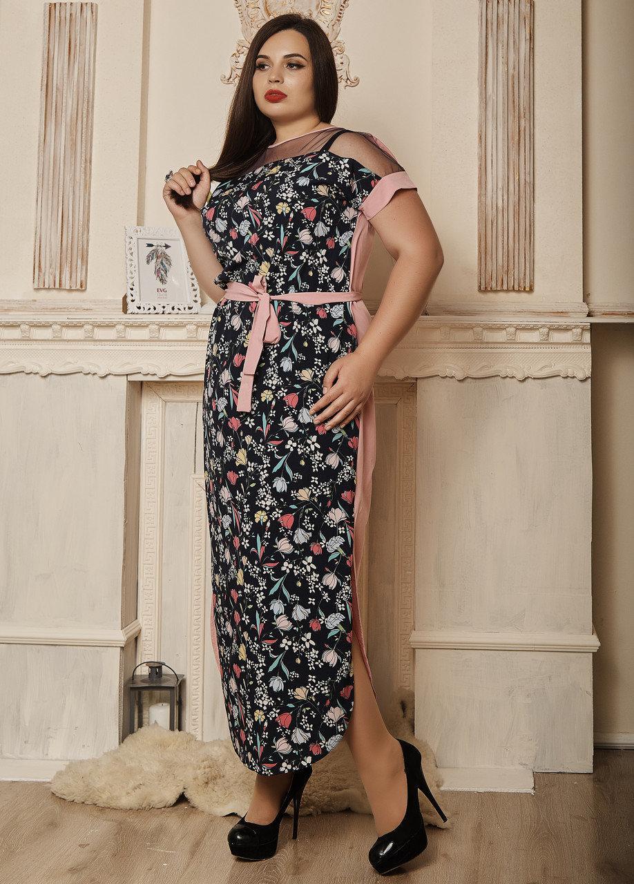 Легкое летнее платье в мелкий цветочек розовое