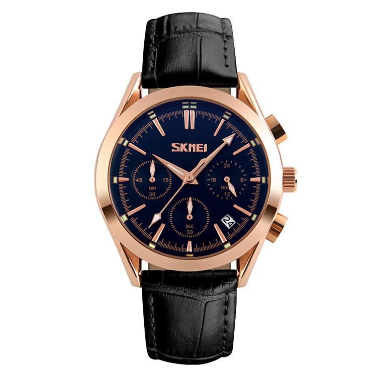 Skmei 9127  prestige черные мужские классические часы