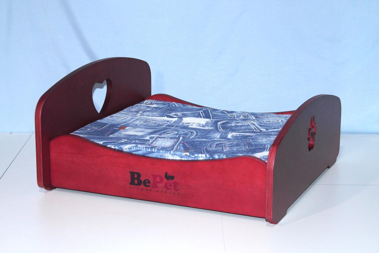 Лежак деревянный для собак и кошек BePet-Вишня