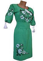 Платье женское вышитое Лен Вышиванка крестиком р.48 - 60