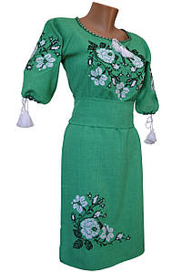 Платье женское вышитое Лен Вышиванка крестиком р.42 - 60
