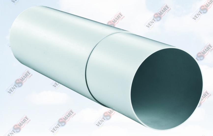Внешний вид круглых пластиковых телескопических труб для вентиляции ПЛАСТИВЕНТ производства ВЕНТС. Вентканалы с изменяемой длиной (телескопические) Пластивент изготовлены из пластика высокого качества, который не поддерживает горение, имеют гладкую внутреннюю поверхность, широкий диапазон температур эксплуатации ― от -30 до +70 град. Цельсия.
