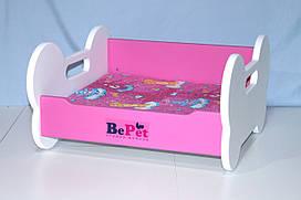 Лежак деревянный для собак BePet Бело-розовый