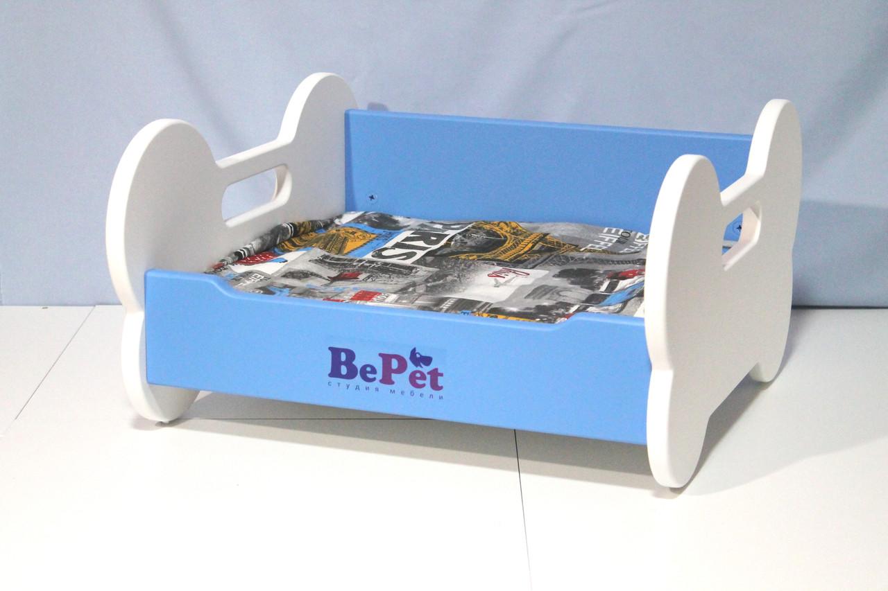 Лежак деревянный для собак BePet Бело-голубой