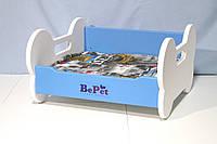 Лежак деревянный для собак BePet Бело-голубой, фото 1