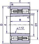 Подшипник  роликовый радиальный с короткими цилиндрическими роликами 5-4162928