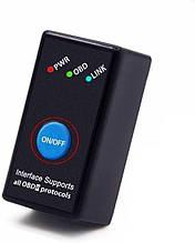 Диагностический сканер адаптер ELM327 Bluetooth с кнопкой