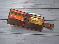 Кожаное портмоне ALONSO, мужское небольшое портмоне_ темный шоколад