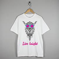 """Футболка """"Сова, Live bright"""""""