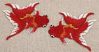 """Красивая  вышивка """"Золотая рыбка"""" бело-красная от студии LadyStyle.Biz, фото 1"""