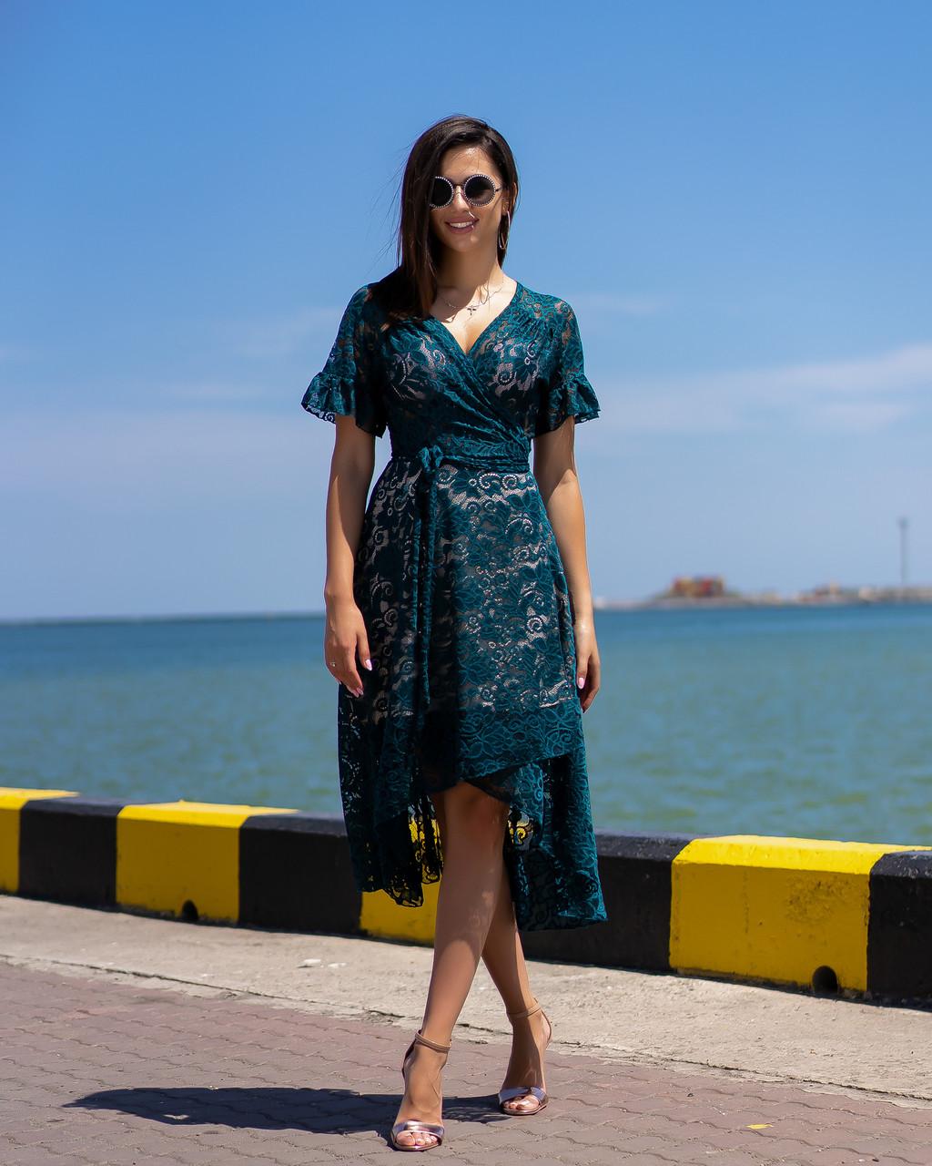 Коктейльное гипюровое платье 4070