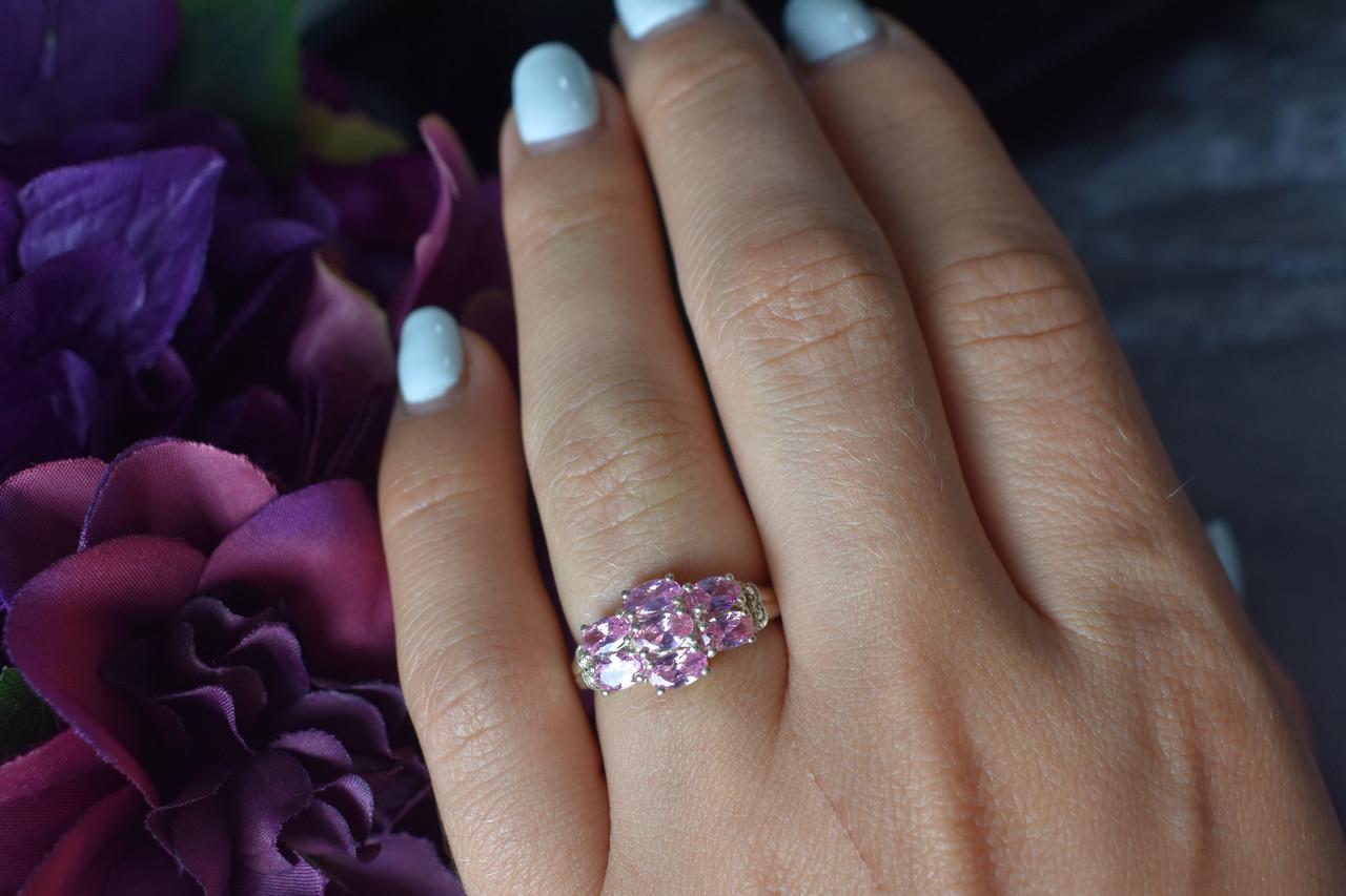 Серебряное кольцо 925 проба с нежно-розовыми фианитами