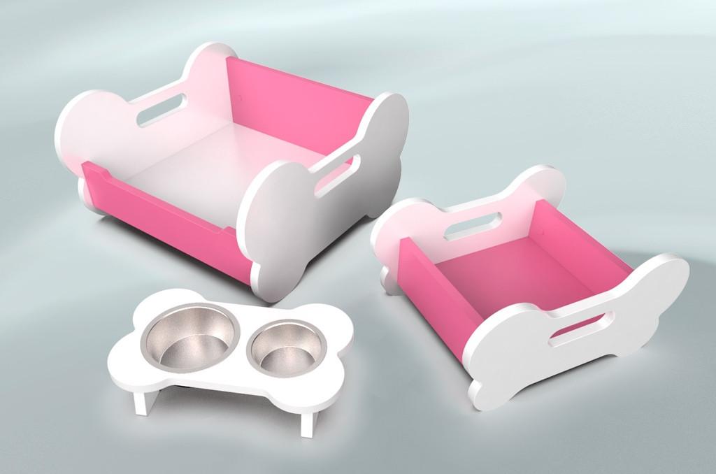 Комплект мебели для собак BePet Бело-розовый
