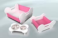Комплект мебели для собак BePet Бело-розовый, фото 1