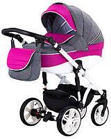 Детская коляска 2 в 1 Adamex Prince X-15-BS серый лен - малиновая кожа (выдавленная строчка), фото 1