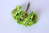 Декоративные цветы (маки) 60 шт/уп. оптом диаметр 5 см, салатового цвета, фото 1