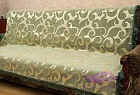 Комплект покрывал Виток крупный на диван и кресла. Цвет - оливка