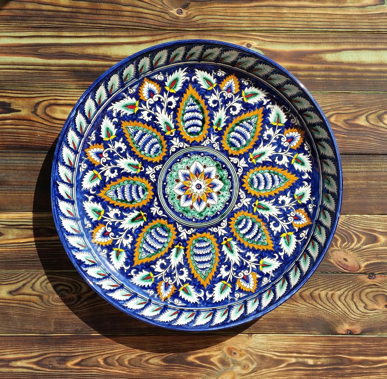 Ляган из керамики d 37 см. Риштан, Узбекистан