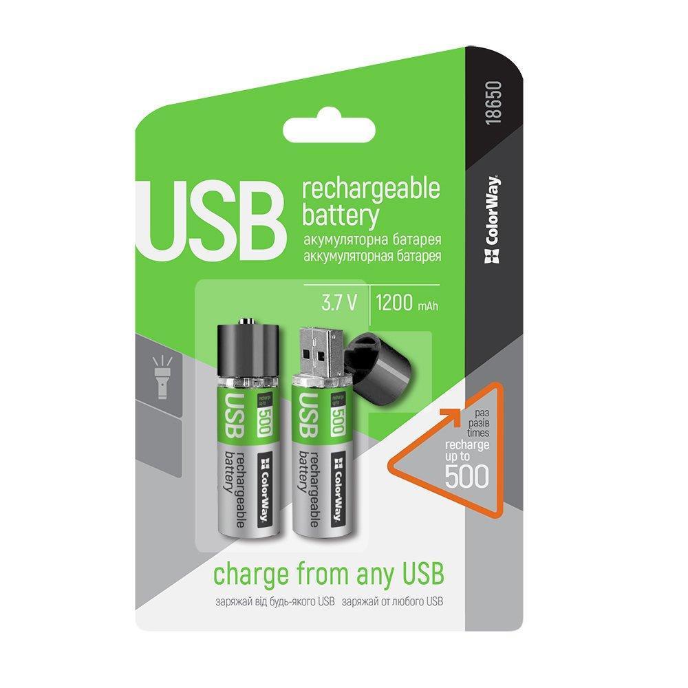 Аккумулятор 18650 USB, 1200 mAh, ColorWay, 2 шт, 3.7V (CW-UB18650-03), перезаряжаемая батарейка