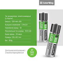 Аккумулятор 18650 USB, 1200 mAh, ColorWay, 2 шт, 3.7V (CW-UB18650-03), перезаряжаемая батарейка, фото 3