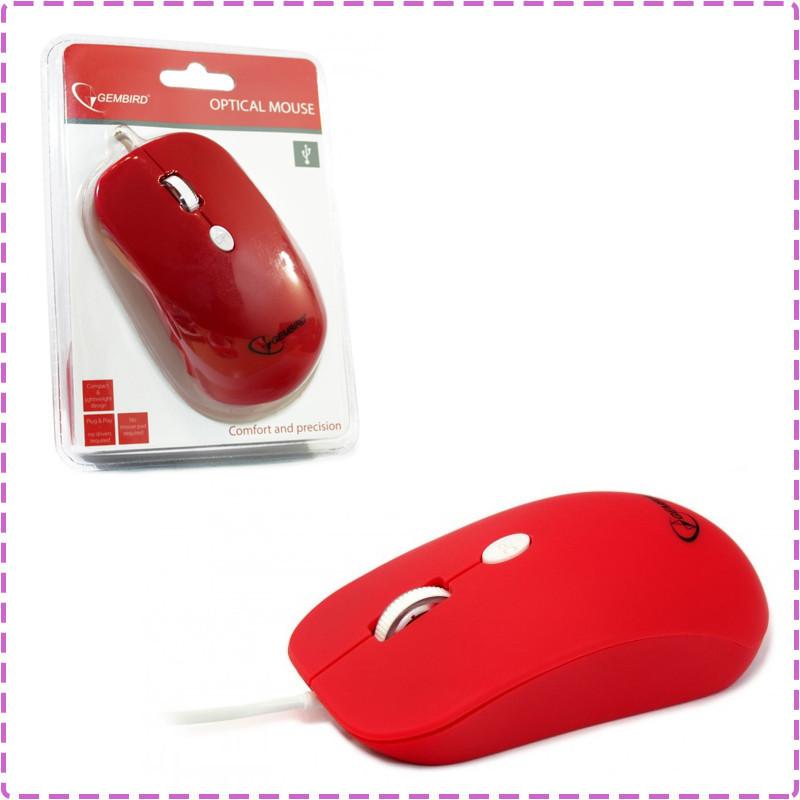 Мышь Gembird MUS-102-R, оптика, Red USB, мышка