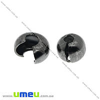 Бусина зажимная Кримп, 3 мм, Черная, 1 шт (BUS-012414)