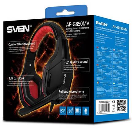 Игровые наушники с микрофоном Sven AP-G850MV Black/Red, игровая гарнитура, фото 2