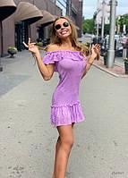 Платье Doratti мини с рюшами вязаное ажурное хлопок красивые цвета Smdor3447
