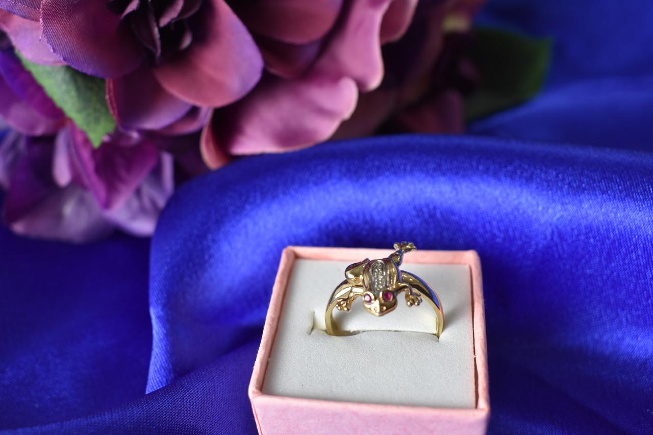 Золотое кольцо 14К (585 проба) с бриллиантами и рубинами *Жабка*