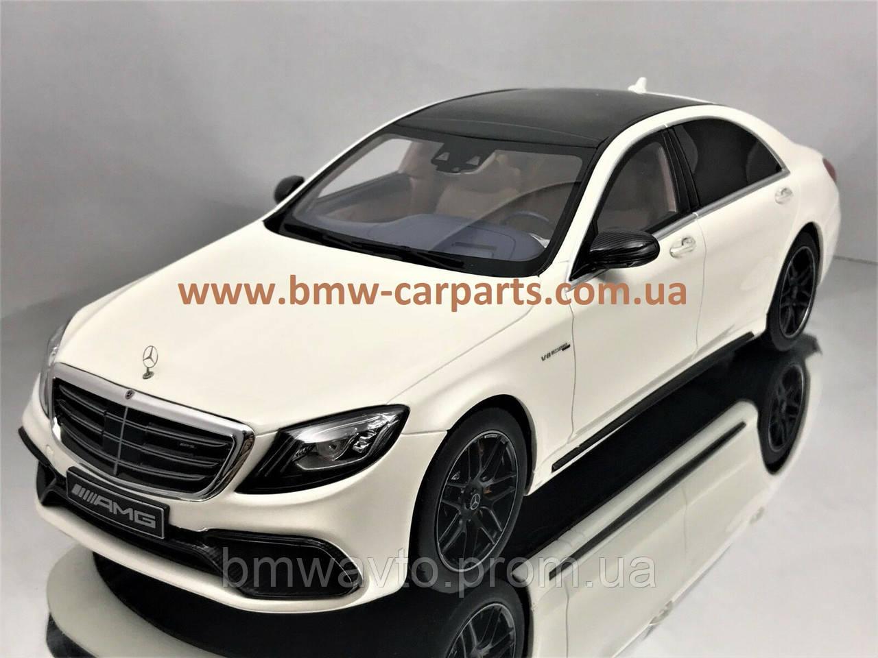 Модель Mercedes-AMG S 63 long-wheelbase, Designo Diamond White Bright, 1:18 Scale
