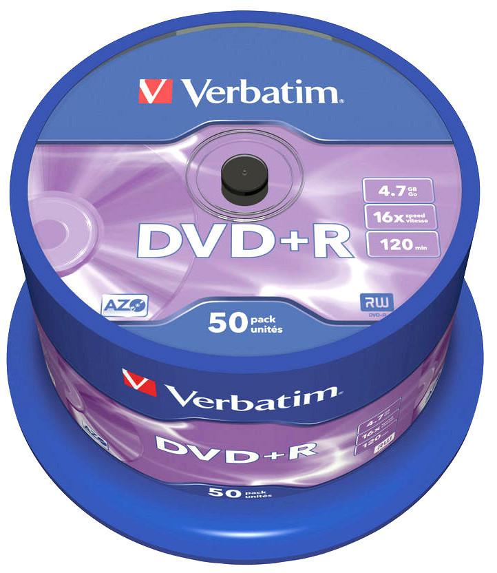 Диски DVD+R 50 шт. Verbatim, 4.7Gb, 16x
