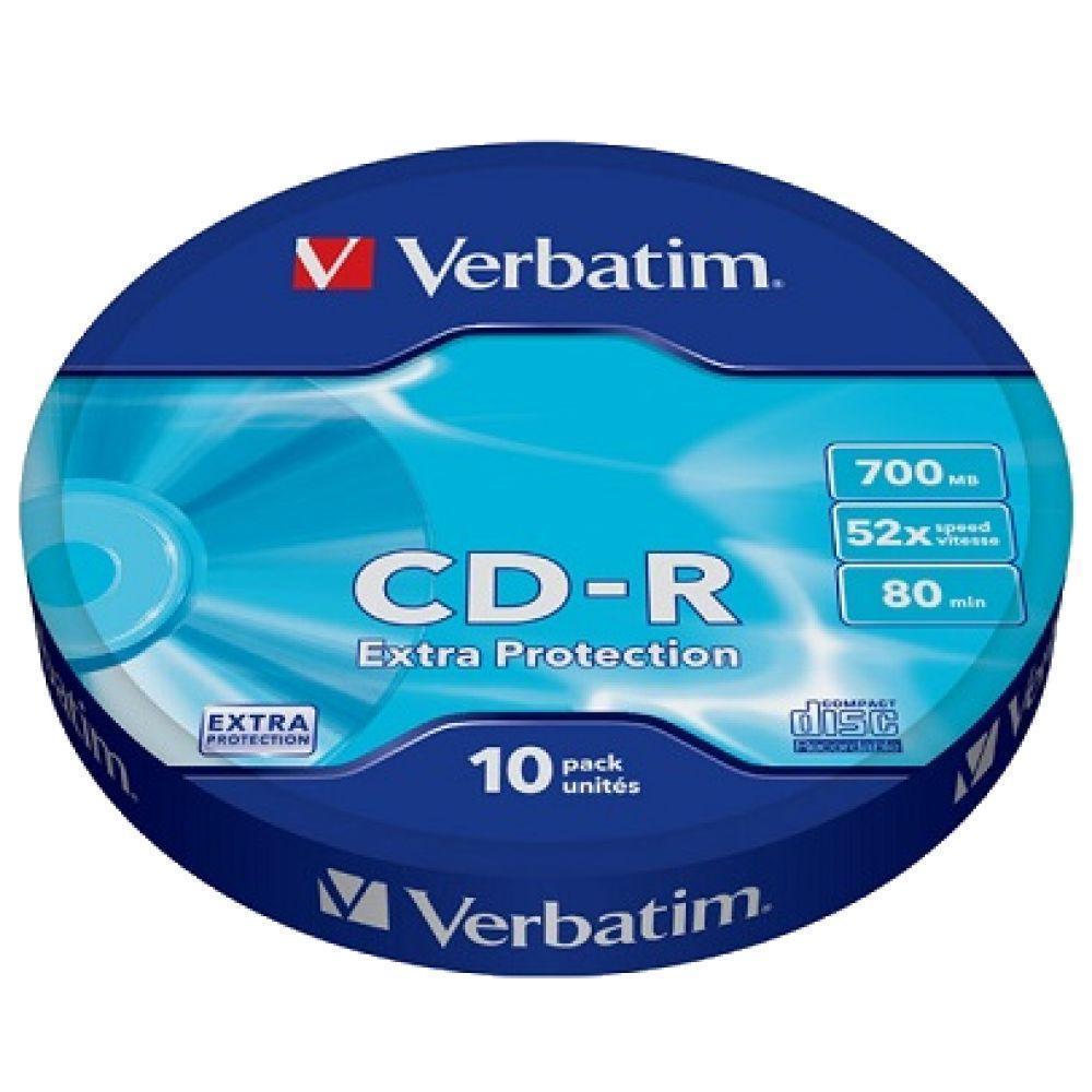 Диски CD-R 10 шт. Verbatim, 700Mb, 52x, Extra Protection, Shrink Box (43725)