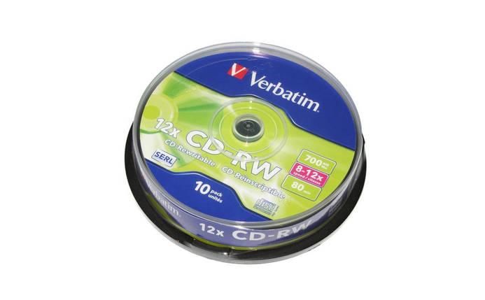 Диски CD-RW 10 шт. Verbatim, 700Mb, 12x, Cake Box (43480), фото 2