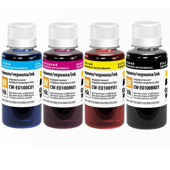 Комплект чернил ColorWay Epson L100/L200, 4x100 мл (CW-EU100SET01), краска для принтера эпсон