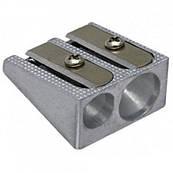 Точилка металлическая двойная Economix E40602
